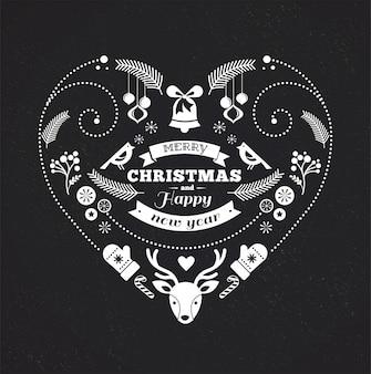 Zwart-wit hartvormige prettige kerstdagen en gelukkig nieuwjaar sjabloon.