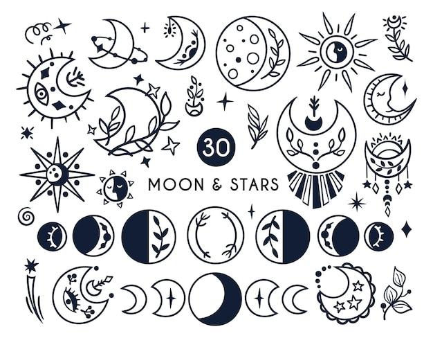 Zwart-wit hemelse maan en zon boho kids clipart