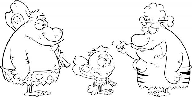 Zwart-wit holbewoner familieman vader jongen jongen en boze grot vrouw moeder praten. illustratie geïsoleerd op wit