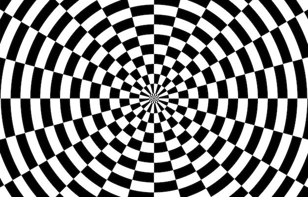 Zwart-wit hypnotische optische illusie achtergrond. vector illustratie.