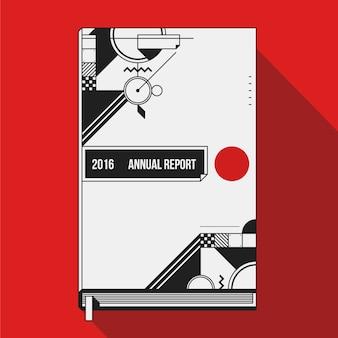 Zwart-wit jaarlijks rapport omslagontwerp