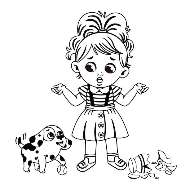 Zwart-wit klein meisje en haar hond vectorillustratie