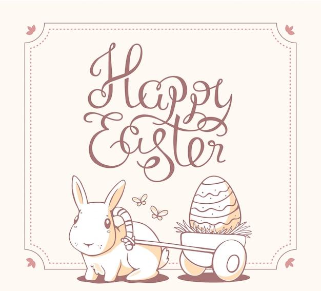 Zwart-wit kleur illustratie van happy easter-groeten met licht konijntje op witte achtergrond.