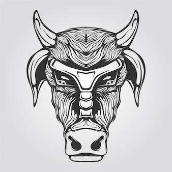 Zwart-wit koe lijntekeningen voor tatto of kleurboek