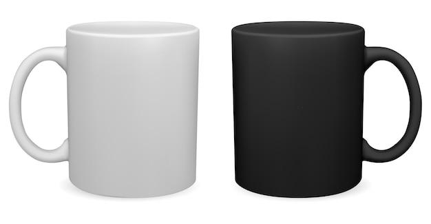 Zwart-wit koffiemok theekopje 3d-vector leeg met handvat mockup ontwerp