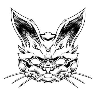 Zwart-wit konijn illustratie