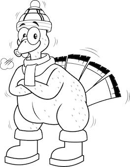 Zwart-wit koud turkije vogel stripfiguur. illustratie geïsoleerd op een witte achtergrond