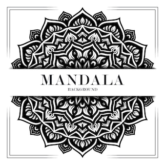 Zwart-wit luxe mandala achtergrond ornament decoratie