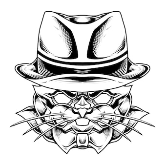 Zwart-wit maffia konijn illustratie