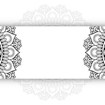 Zwart-wit mandala achtergrond met kopie ruimte