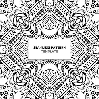 Zwart-wit mandala naadloze patroon