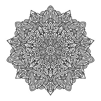 Zwart-wit mandala-ontwerp op de stijlachtergrond van de lijnkunst