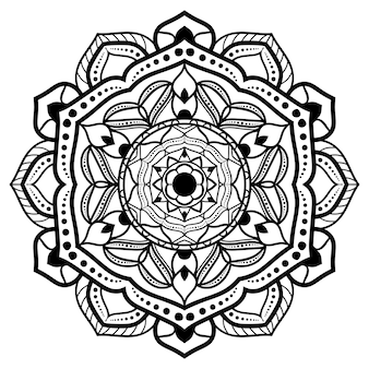 Zwart-wit mandala tekening
