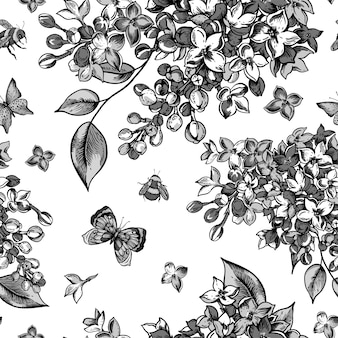 Zwart-wit naadloos patroon met bloeiende bloemen van lila