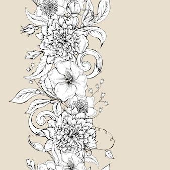 Zwart-wit naadloos patroon met bloeiende pioen