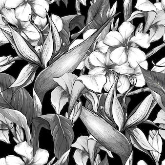 Zwart-wit naadloos patroon met exotische bloemen