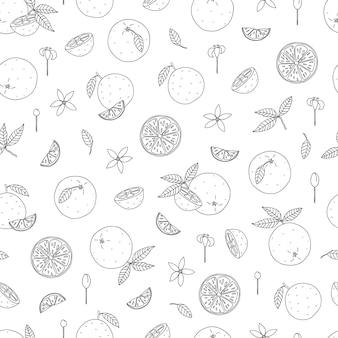Zwart-wit naadloos patroon van sinaasappelen