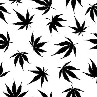 Zwart-wit naadloos patroon van zwarte cannabisbladeren op een witte achtergrond