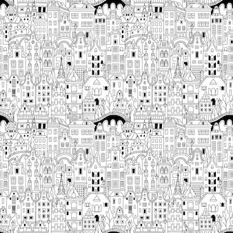 Zwart-wit naadloze patroon, amsterdam