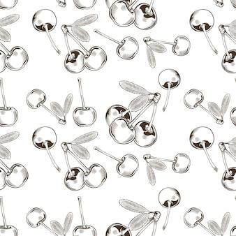 Zwart-wit naadloze patroon met kersen in vintage stijl