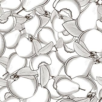 Zwart-wit naadloze patroon met perziken en peren in vintage stijl