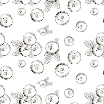 Zwart-wit naadloze patroon met veenbessen in vintage stijl