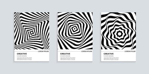 Zwart-wit omslagontwerp met golvende gestreepte lijnen