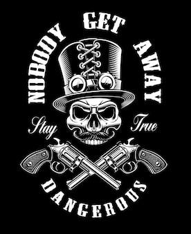 Zwart-wit ontwerp met een schedel en kanonnen, in steampunkthema op de donkere achtergrond.