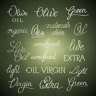 Zwart-wit originele stijlvolle poster met belettering ongeraffineerde extra vierge olijfolie