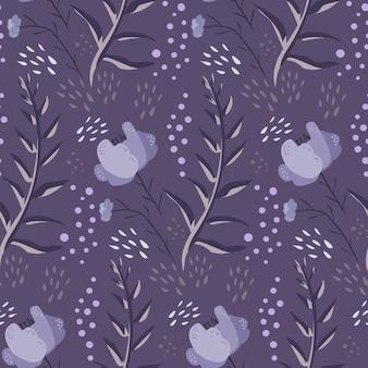 Zwart-wit paars doodle bloemenpatroon