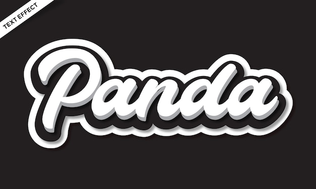 Zwart wit panda kleur teksteffect