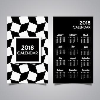 Zwart-wit patroon kalenderontwerpen