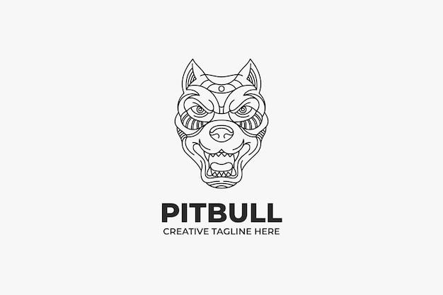 Zwart-wit pitbull head-logo
