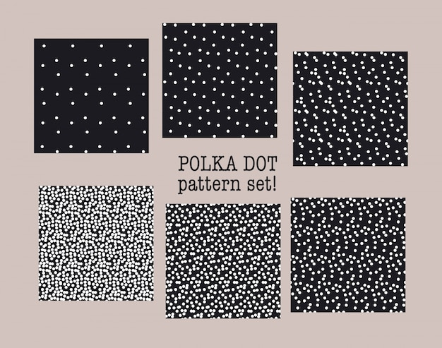 Zwart-wit polka dot naadloze patroon set