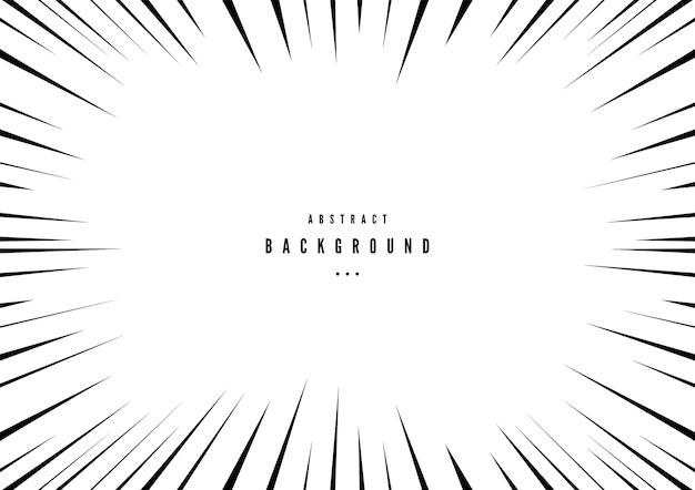 Zwart-wit radiale lijnen strips stijl achtergrond.