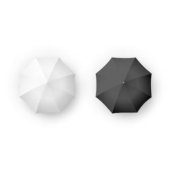 Zwart-wit realistische paraplu en parasols geïsoleerd op wit.