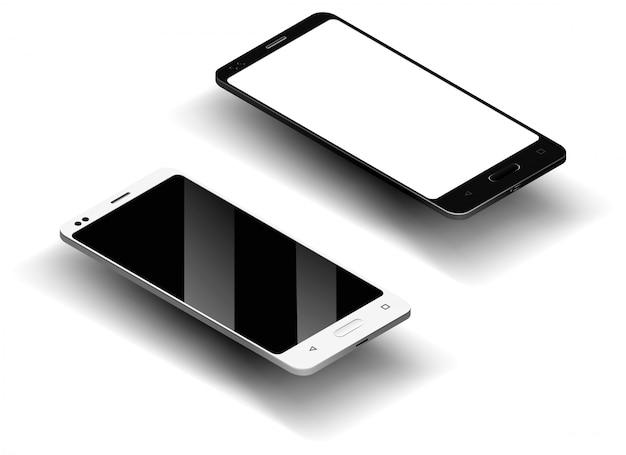 Zwart-wit realistische smartphone in isometrisch met schaduw, camera en schittering, mobiele telefoon met leeg scherm voor uw ontwerp op geïsoleerde achtergrond