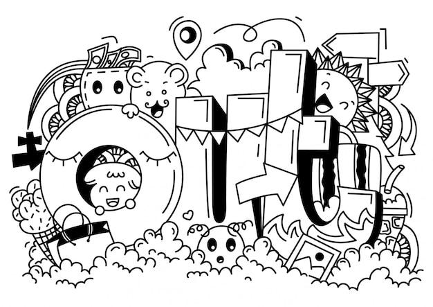 Zwart-wit reizen doodle illustratie