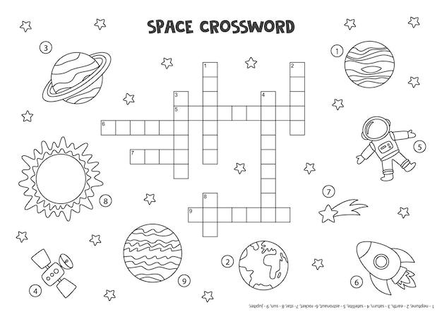 Zwart-wit ruimtekruiswoordraadsel voor kinderen met planeten van het zonnestelsel, zon, raket.