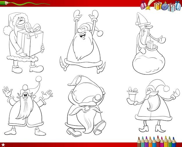 Zwart-wit santa claus-tekenset kleurboekpagina
