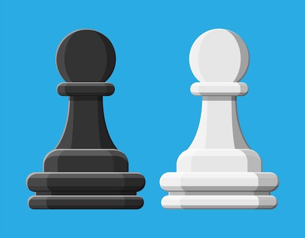 Zwart-wit schaakpionstuk. schaken sportspel.