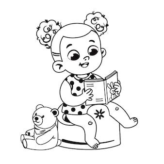 Zwart-wit schattig klein meisje zindelijkheidstraining en het lezen van een boek vectorillustratie
