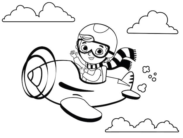 Zwart-wit schattige jongen piloot vliegt op een vliegtuig cartoon vectorillustratie
