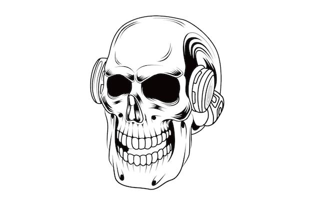 Zwart-wit schedel muziek vector