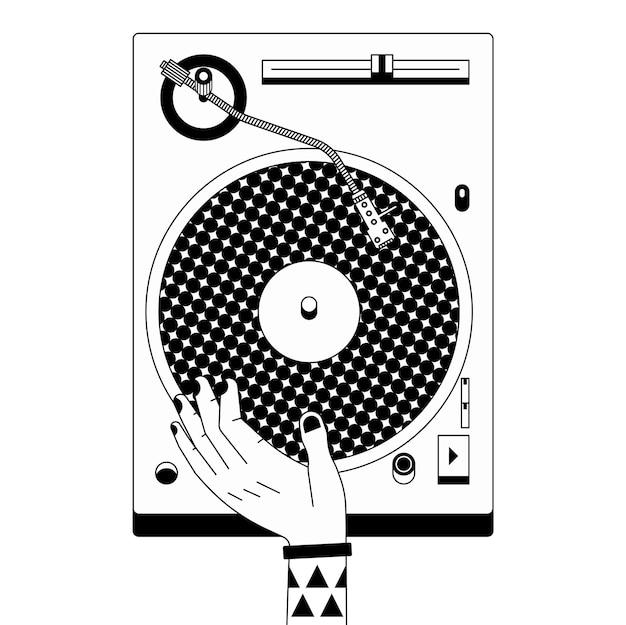 Zwart-wit schets illustratie van dj mixer. muziekrecord en schetsende hand.