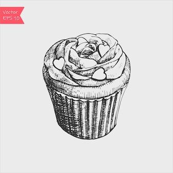 Zwart-wit schets vectorillustratie van schattige romige zoete cupcake.