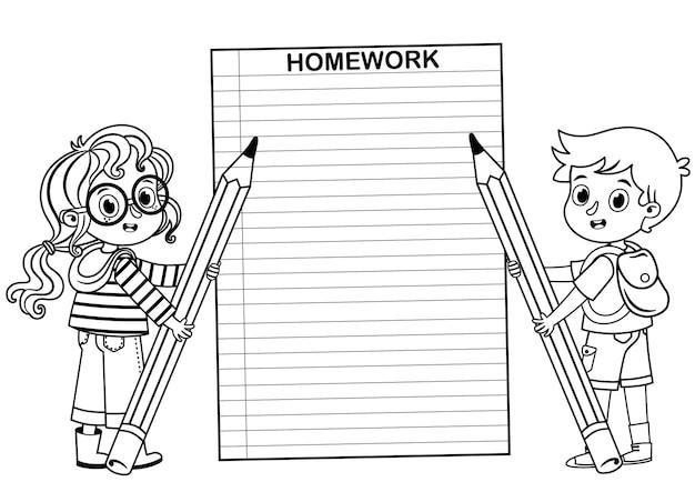 Zwart-wit schoolkinderen houden potloden in terug naar school thema vectorillustratie