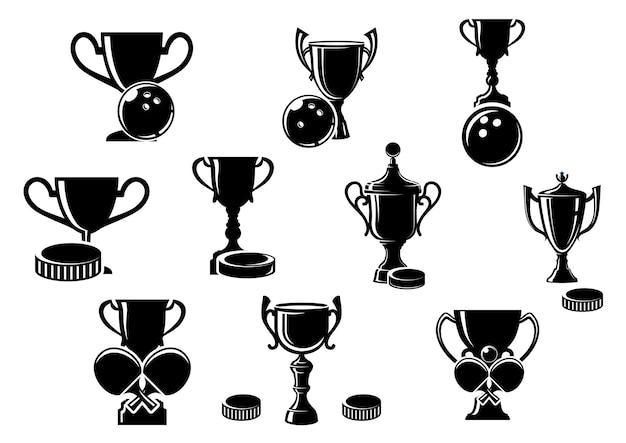 Zwart-wit silhouet sporttrofeeën voor bowlen met een bowling, ijshockey met een puck en tafelstennis met gekruiste vleermuizen, illustratie
