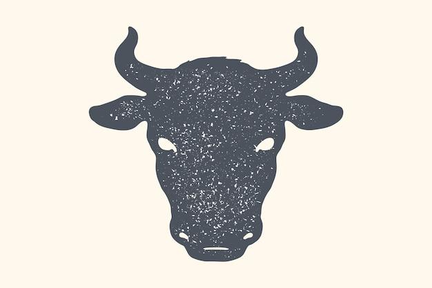 Zwart-wit silhouet van het hoofd van de koe