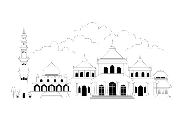 Zwart-wit skyline van ahmedabad
